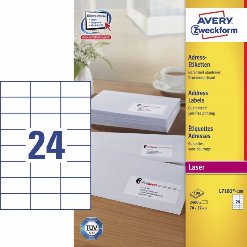 Image of   Laseretiket Avery 70x37mm 24/ark 100ark/pak L7181