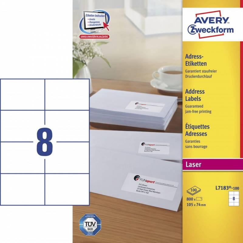 Image of   Laseretiket Avery 105x74mm 8/ark 100ark/pak L7183