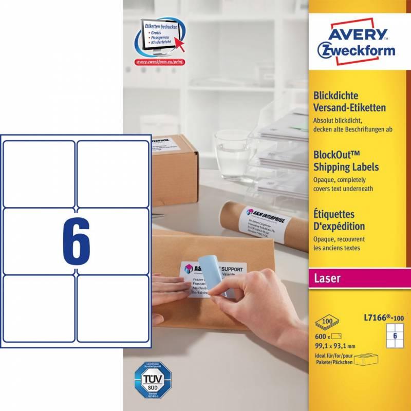 Image of   Laseretiket Avery 99,1x93,1mm 6/ark 100ark/pak L7166