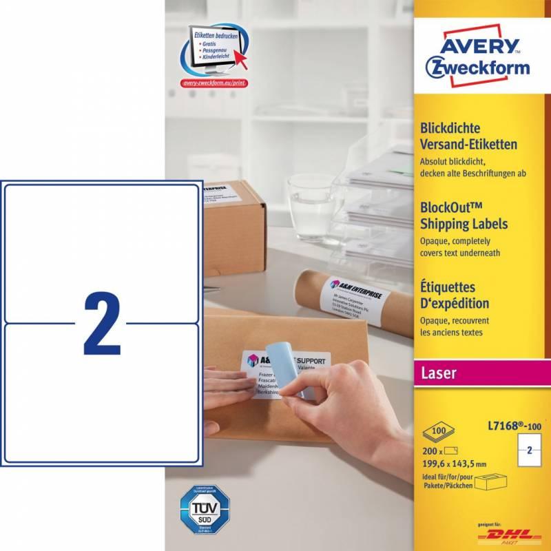 Image of   Laseretiket Avery 199,6x143,5mm 2/ark 100ark/pak L7168