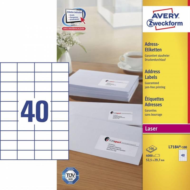 Image of   Laseretiket Avery 52,5X29,7mm 40/ark 100ark/pak L7184