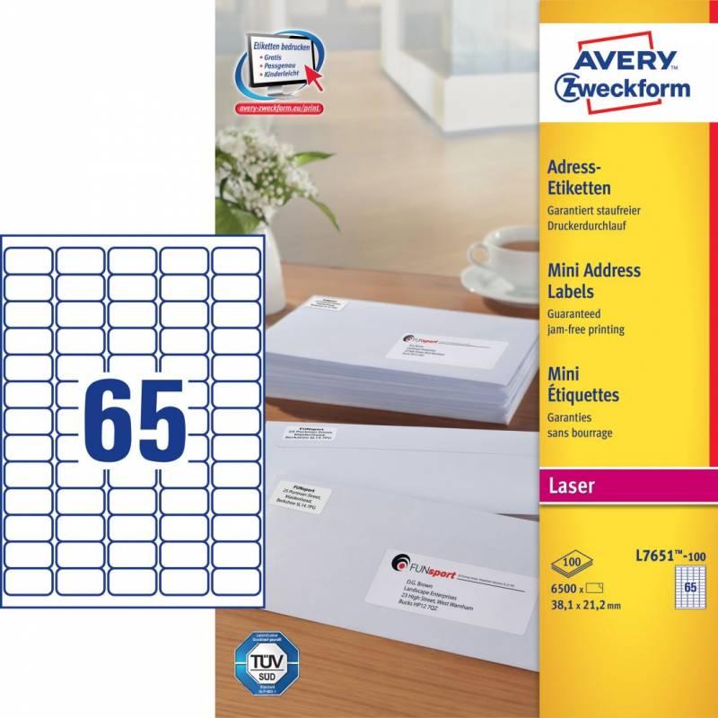 Image of   Laseretiket Avery 38,1x21,2mm 65/ark 100ark/pak L7651-H