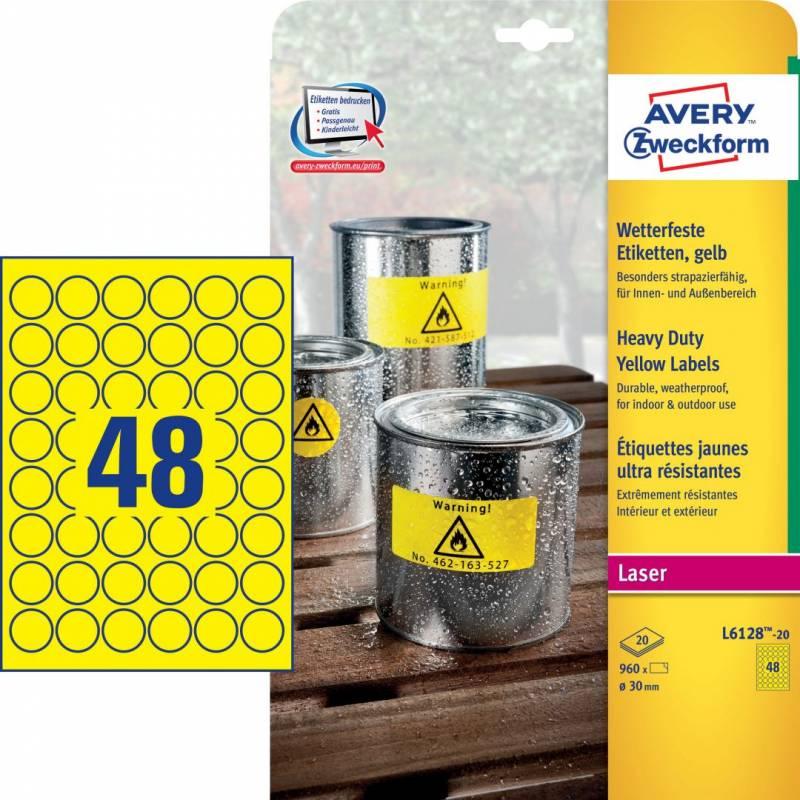 Image of   Etiket Avery stærk gule Ø30mm 48stk/ark 20ark/pak
