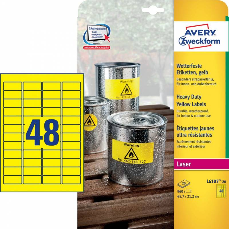 Image of   Etiket Avery stærk gul 45,7x21,2mm 48stk/ark 20ark/pak