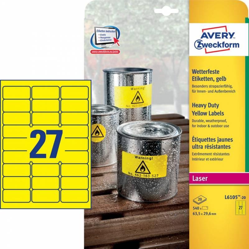 Image of   Etiket Avery L6105 stærk gul 63,5x29,6mm 27stk/ark 20ark/pak