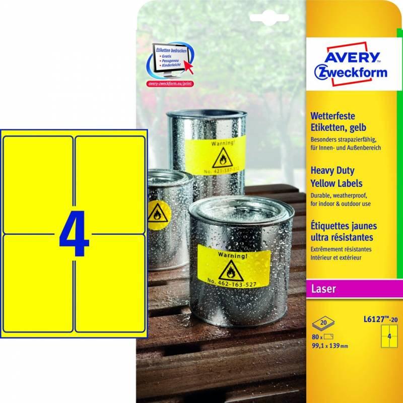 Image of   Etiket Avery L6127 stærk gul 99,1x139mm 4stk/ark 20ark/pak