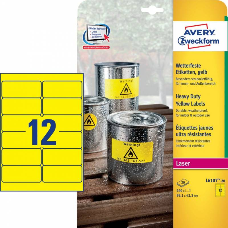 Image of   Etiket Avery stærk gul 99,1x42,3mm 12stk/ark 20ark/pak