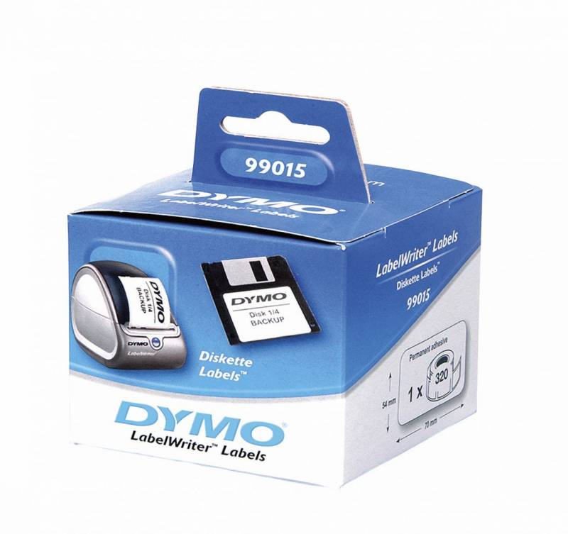 Image of   Disketteetiketter DYMO hvid 54x70mm 320stk/rul 99015