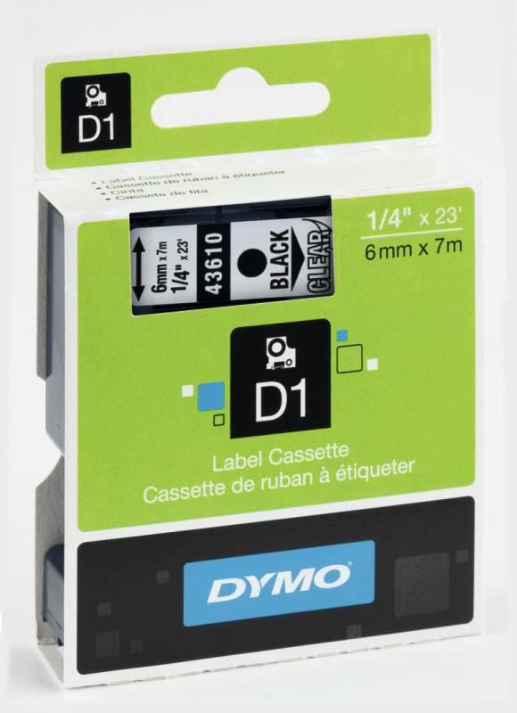 Billede af Labeltape DYMO D1 6mm sort på klar