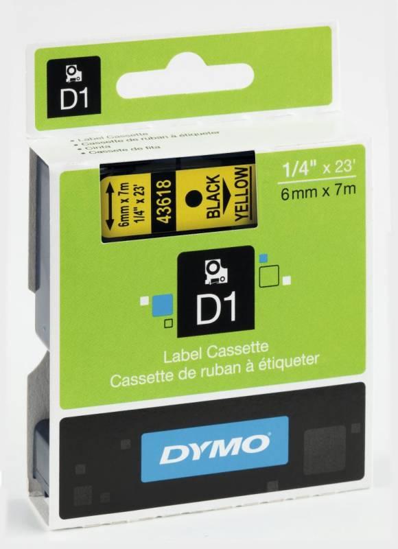 Billede af Labeltape DYMO D1 6mm sort på gul