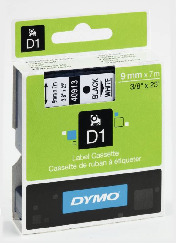 Billede af Labeltape DYMO D1 9mm sort på hvid