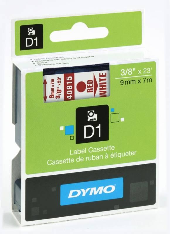 Billede af Labeltape DYMO D1 9mm rød på hvid