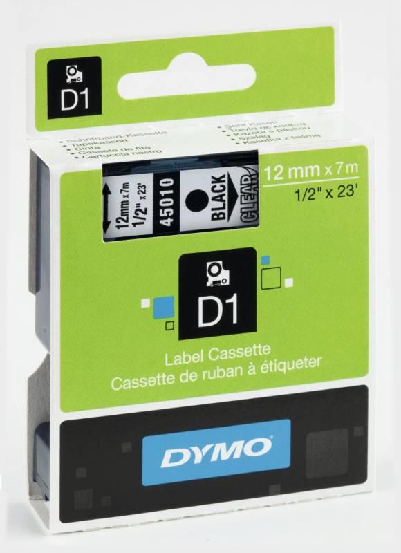 Billede af Labeltape DYMO D1 12mm sort på klar