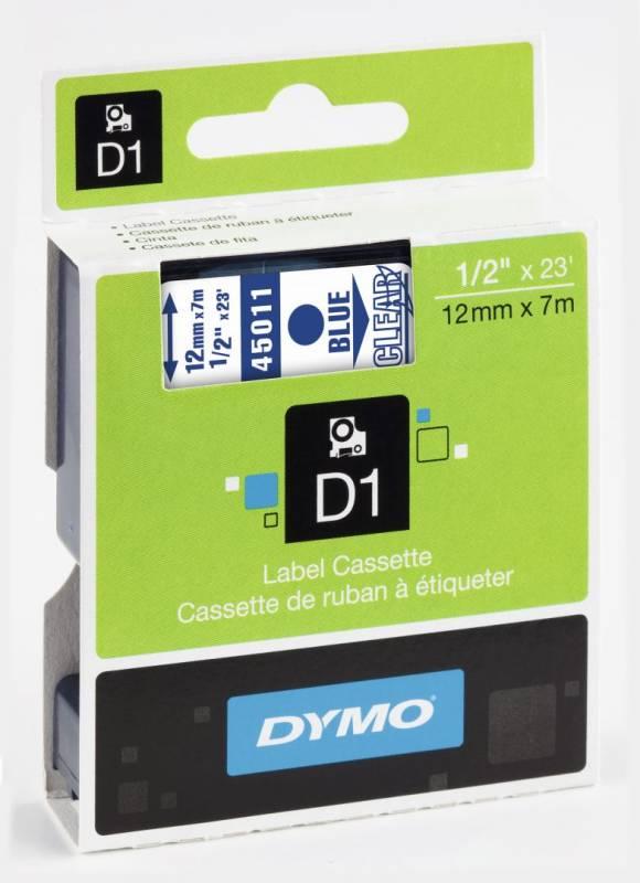 Billede af Labeltape DYMO D1 12mm blå på klar