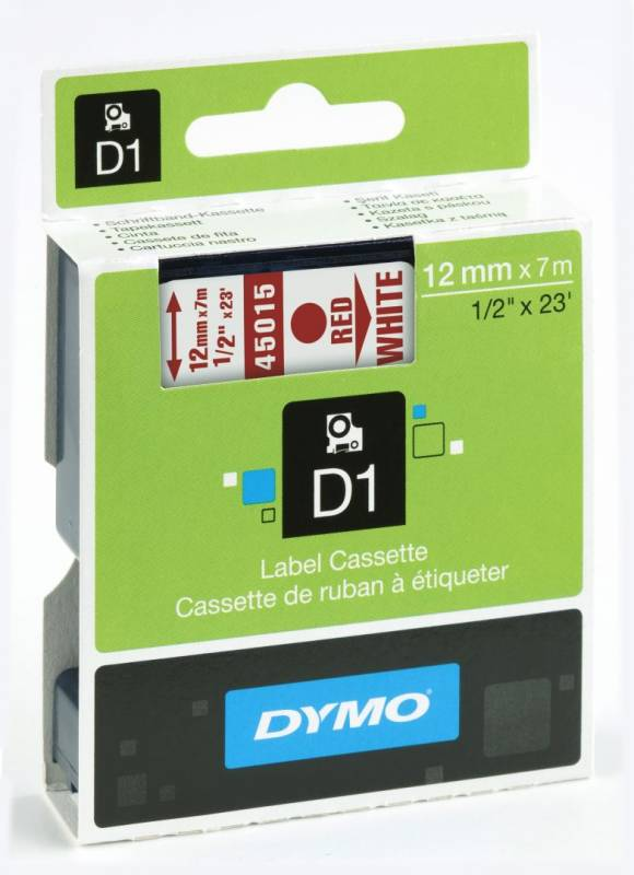 Billede af Labeltape DYMO D1 12mm rød på hvid