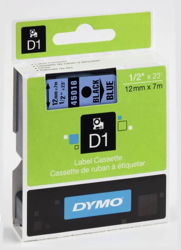 Billede af Labeltape DYMO D1 12mm sort på blå