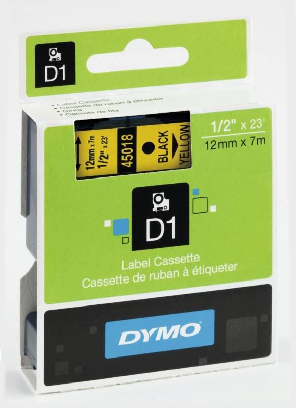 Billede af Labeltape DYMO D1 12mm sort på gul