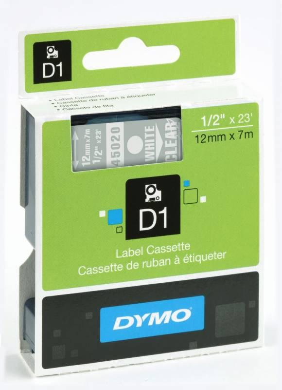 Billede af Labeltape DYMO D1 12mm hvid på klar