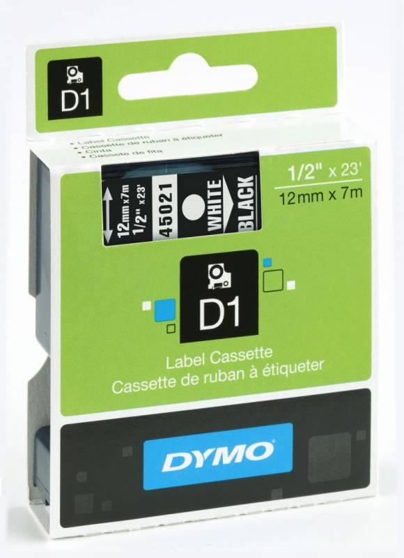 Labeltape DYMO 45021 D1 12mm hvid på sort