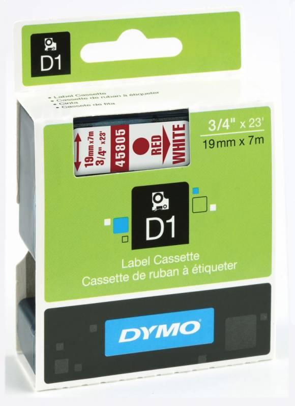 Billede af Labeltape DYMO D1 19mm rød på hvid