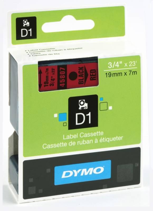 Billede af Labeltape DYMO D1 19mm sort på rød