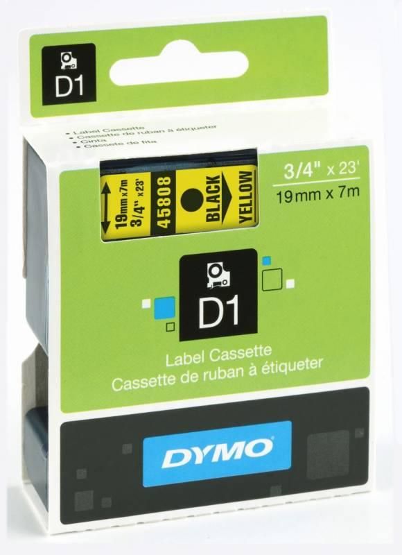 Billede af Labeltape DYMO D1 19mm sort på gul