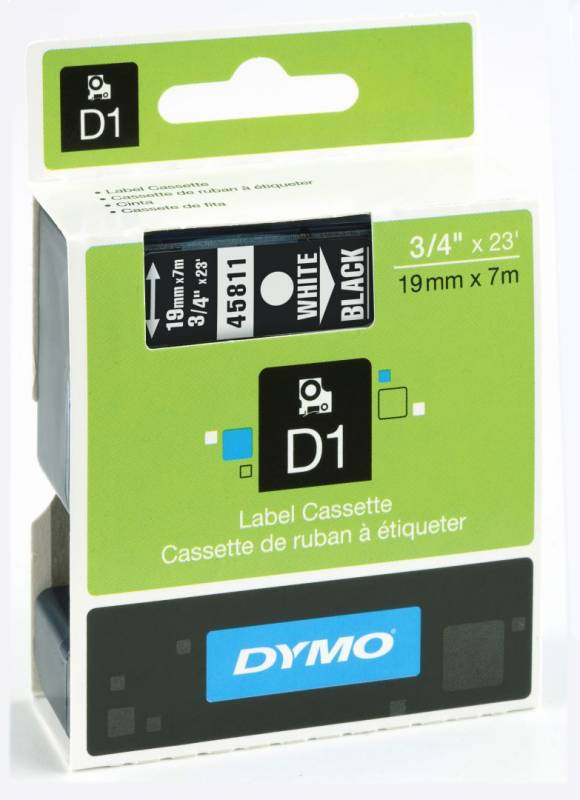 Labeltape DYMO 45811 D1 19mm hvid på sort
