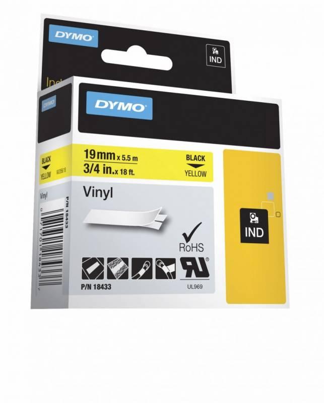 Billede af Labeltape DYMO D1 19mm sort på gul vinyl