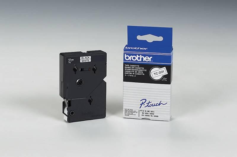 Billede af Labeltape Brother TC201 12mm sort på hvid lamineret