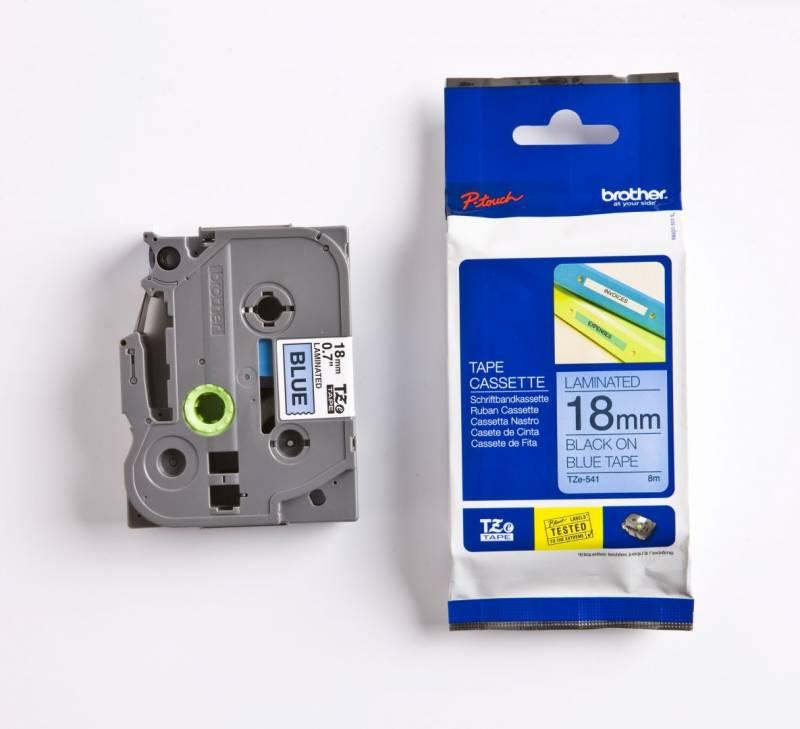 Billede af Labeltape Brother TZe541 18mm sort på blå lamineret