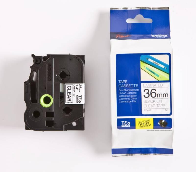 Billede af Labeltape Brother TZe161 36mm sort på klar lamineret