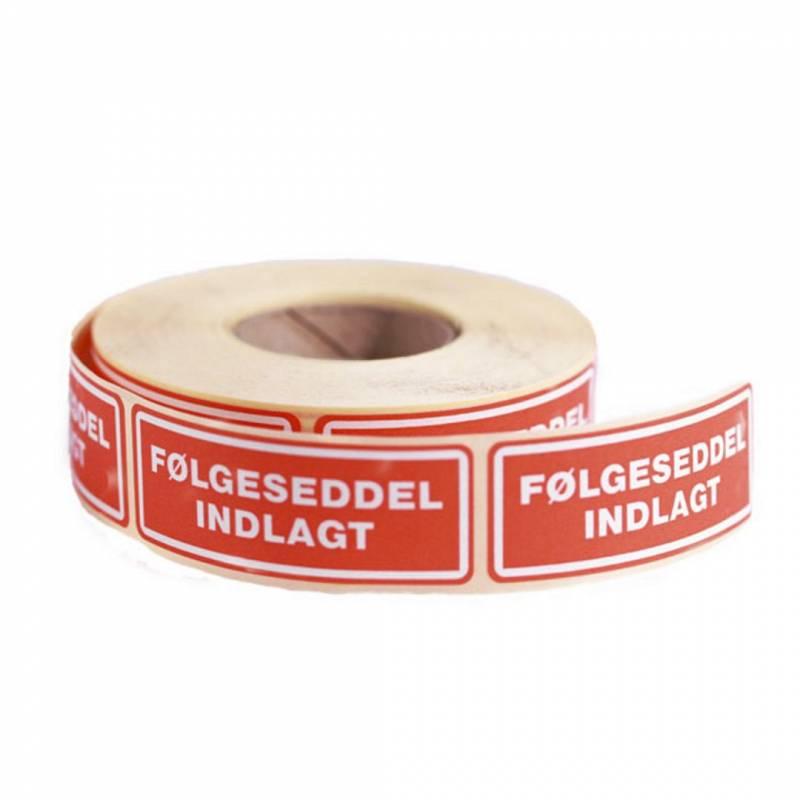 Etiketter selvkl.tryk:Følgesed indlagt 24x64,6mm 500/rul