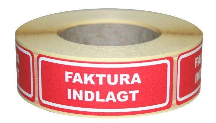 Etiketter selvkl. tryk:Faktura indlagt 24x64,6mm 500/rul