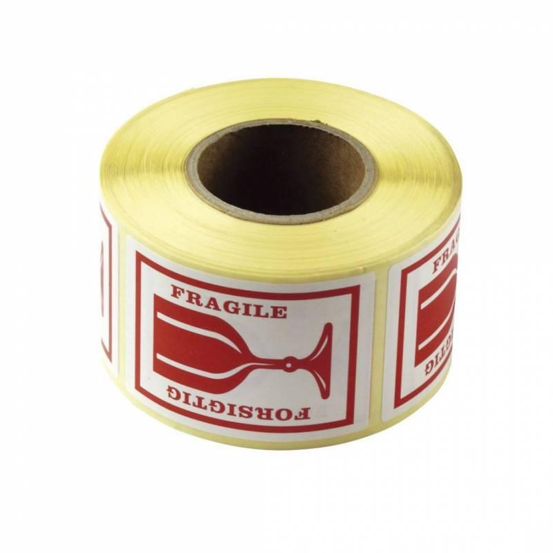 Etiket selvkl. Forsigtig/Fragile glas 45x65mm 43-433 500stk/rul