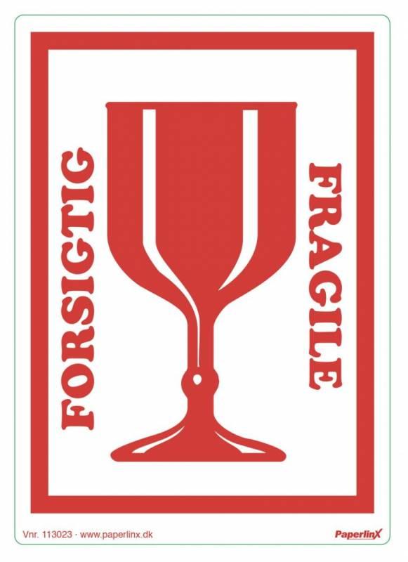 Etiketter selvkl. 150x210mm rød Forsigtig/glas 250stk