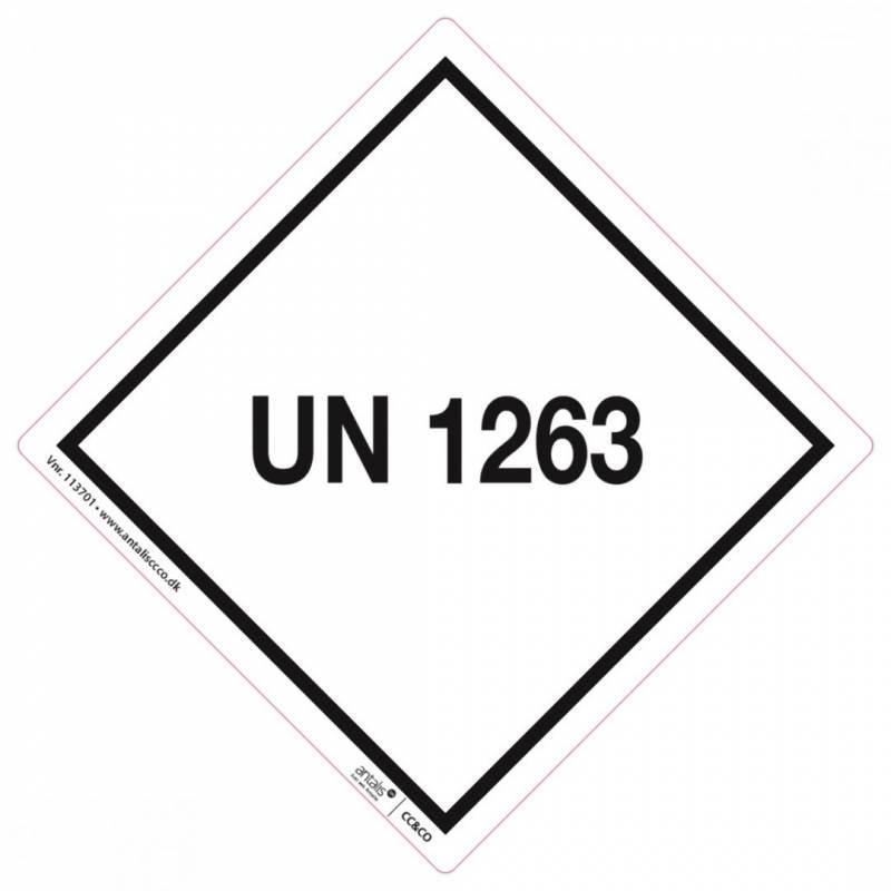 Fareetiket UN1263 hvid/sort 100x100mm UN 250stk
