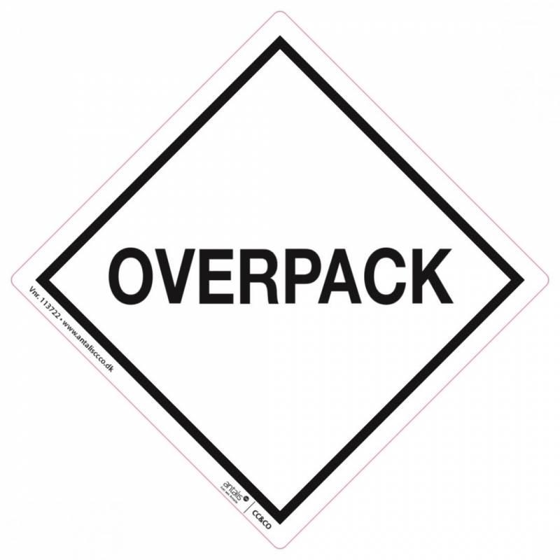 Fareetiket Overpack hvid/sort 100x100mm 250stk