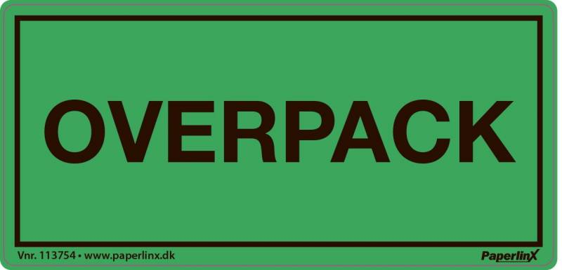Fareetiket Overpack grøn/sort 50x100mm 250stk