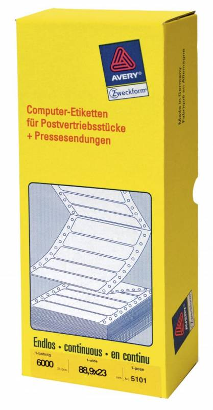 Computer-line 1-banet etiket 88,9x23mm 5101 6000stk/pak