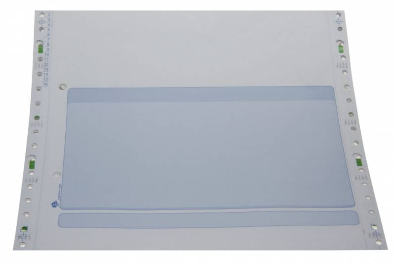 Edb-papir 3-banet m/tryk blå 8,5 x240mm 26020 800stk/pak