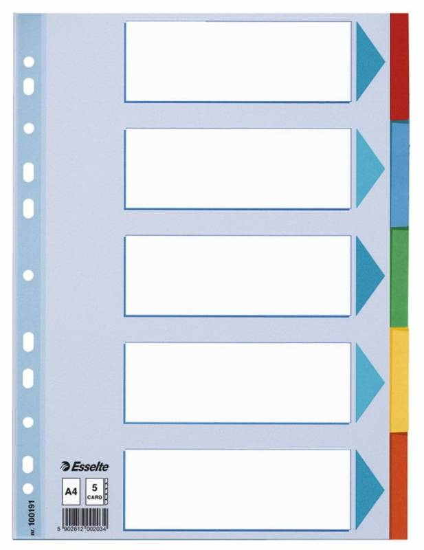Faneblade Esselte 5-delt A4 karton (44895) 100191