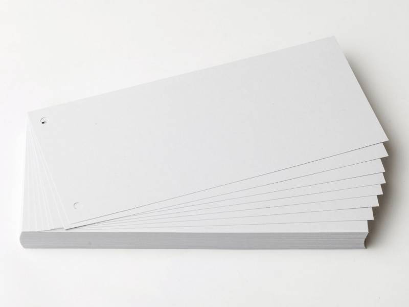 Billede af Faneblade karton hvid 10,5x24cm 190g 100ark/sæt
