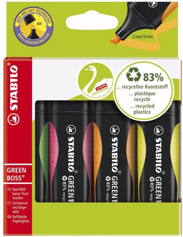 Billede af Tekstmarker Stabilo Boss Green 4 stk/sæt ass. farver