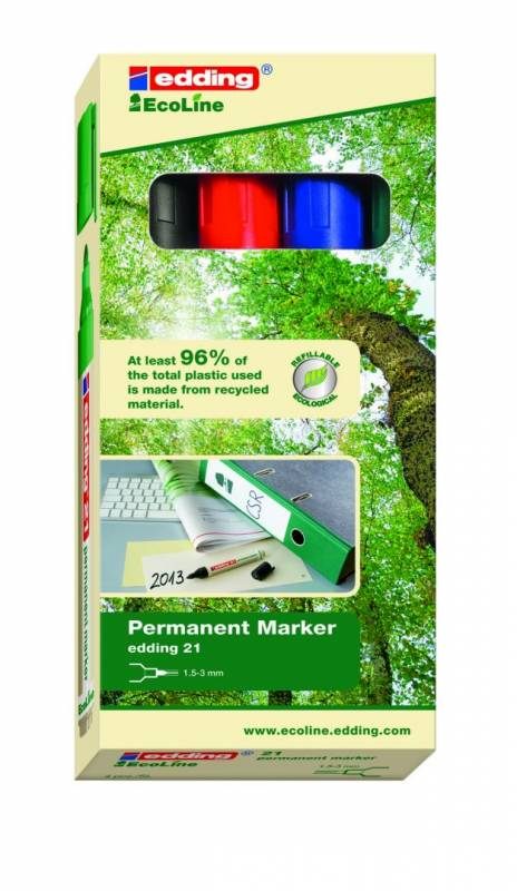 Image of   Marker Edding 21 Ecoline ass. perm. 1,5-3mm rund spids 4stk/sæt