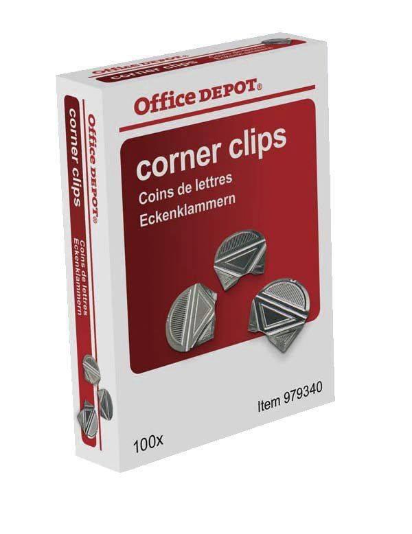 Hjørneklemmer Office DEPOT aluminium 100stk/pak