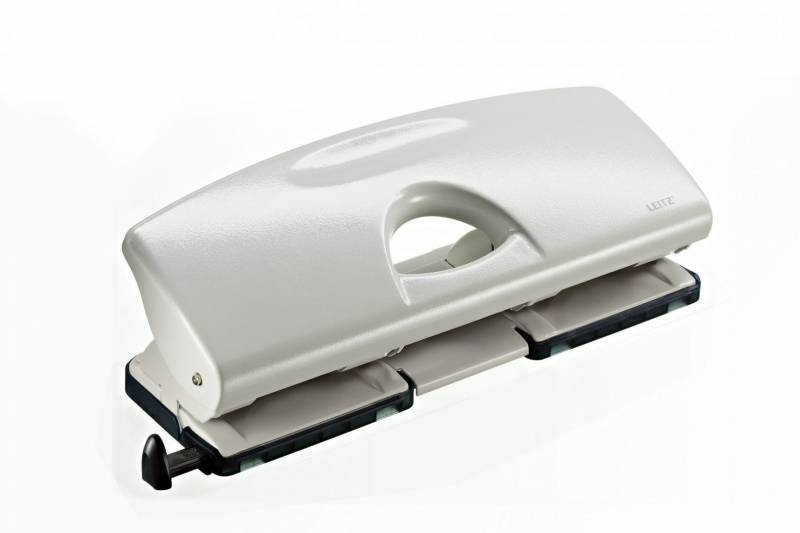 Hulapparat Leitz grå 4-huls m/skinne t/25ark 5012
