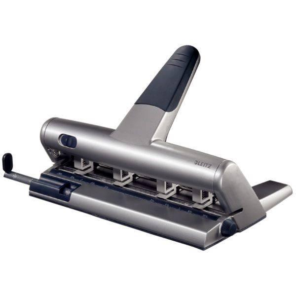 Hulapparat Leitz grå 4-huls justerbare piber t/30ark 5114