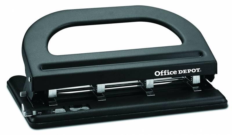 Billede af Hulapparat Office DEPOT sort 4-huls justerbar t/30ark