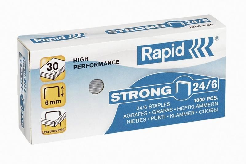Image of   Hæfteklammer galvaniseret 24/6 Rapid strong 1000stk/pak