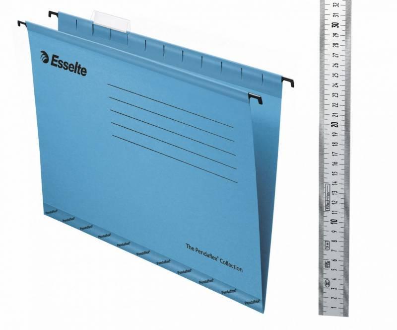 Hængemapper Esselte blå Folio m/klar fane 25stk/pak